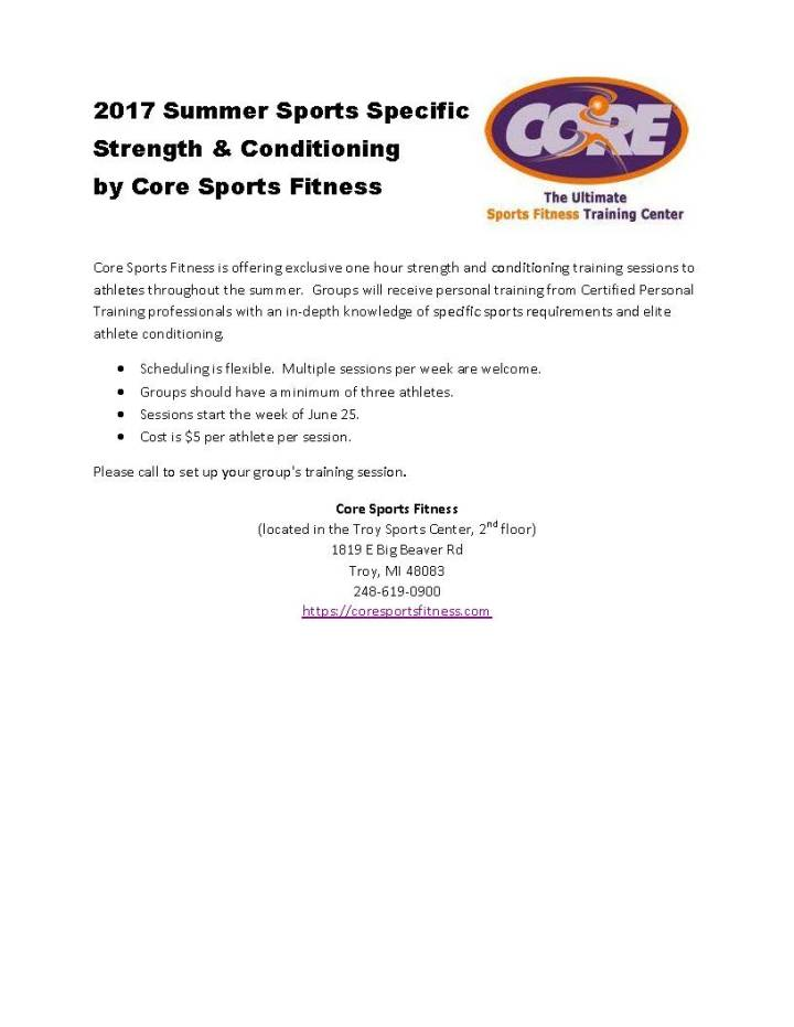 2017 Core Sports Cheer flyer