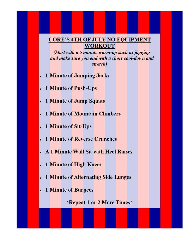 Cores 4th of july workout 2018-2